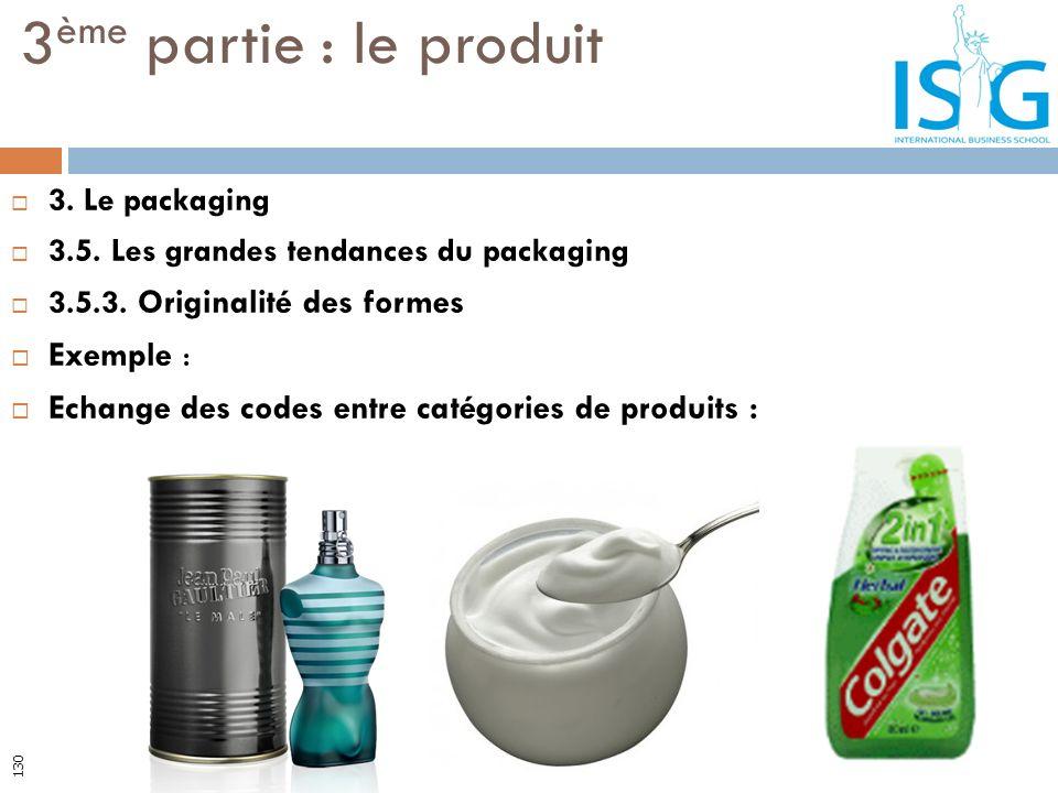 3. Le packaging 3.5. Les grandes tendances du packaging 3.5.3. Originalité des formes Exemple : Echange des codes entre catégories de produits : 3 ème