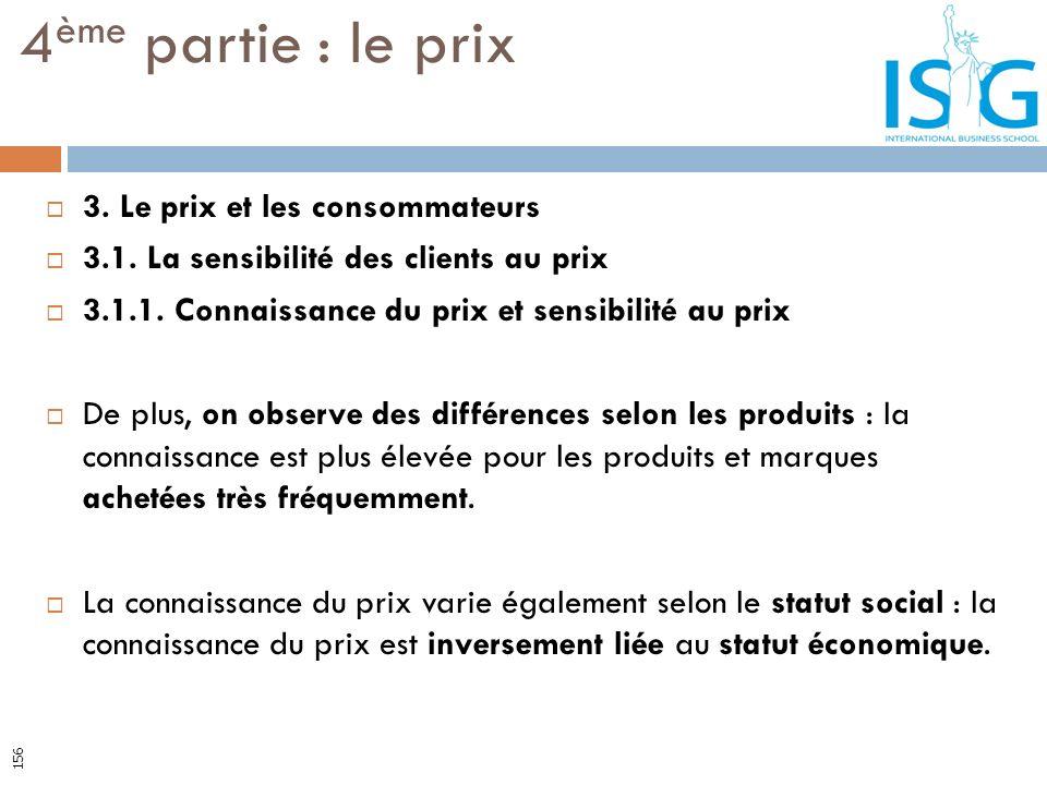 3. Le prix et les consommateurs 3.1. La sensibilité des clients au prix 3.1.1. Connaissance du prix et sensibilité au prix De plus, on observe des dif