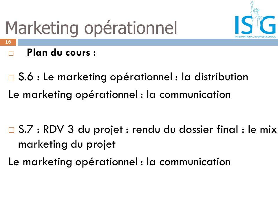Plan du cours : S.6 : Le marketing opérationnel : la distribution Le marketing opérationnel : la communication S.7 : RDV 3 du projet : rendu du dossie