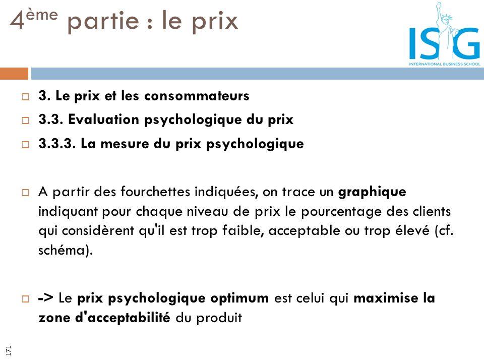 3. Le prix et les consommateurs 3.3. Evaluation psychologique du prix 3.3.3. La mesure du prix psychologique A partir des fourchettes indiquées, on tr