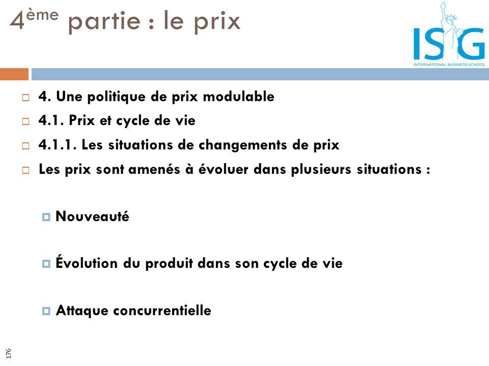 4. Une politique de prix modulable 4.1. Prix et cycle de vie 4.1.1. Les situations de changements de prix Les prix sont amenés à évoluer dans plusieur