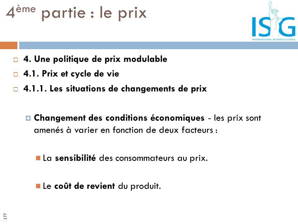 4. Une politique de prix modulable 4.1. Prix et cycle de vie 4.1.1. Les situations de changements de prix Changement des conditions économiques - les