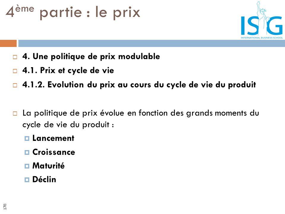 4. Une politique de prix modulable 4.1. Prix et cycle de vie 4.1.2. Evolution du prix au cours du cycle de vie du produit La politique de prix évolue