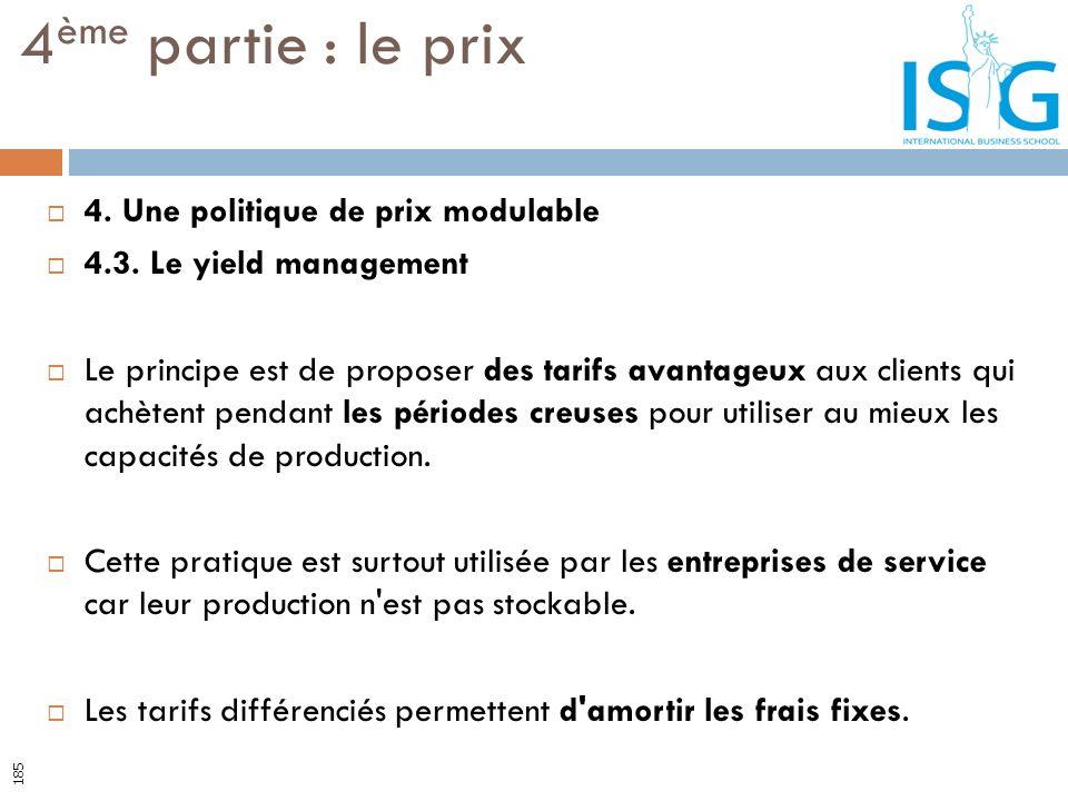 4. Une politique de prix modulable 4.3. Le yield management Le principe est de proposer des tarifs avantageux aux clients qui achètent pendant les pér