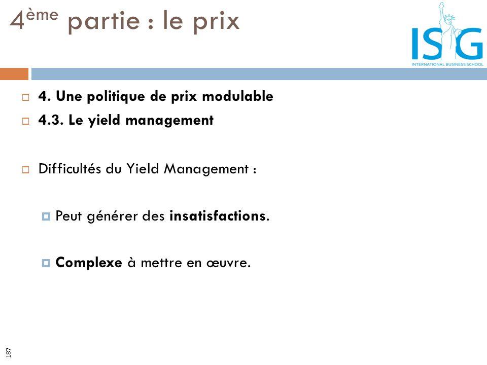 4. Une politique de prix modulable 4.3. Le yield management Difficultés du Yield Management : Peut générer des insatisfactions. Complexe à mettre en œ