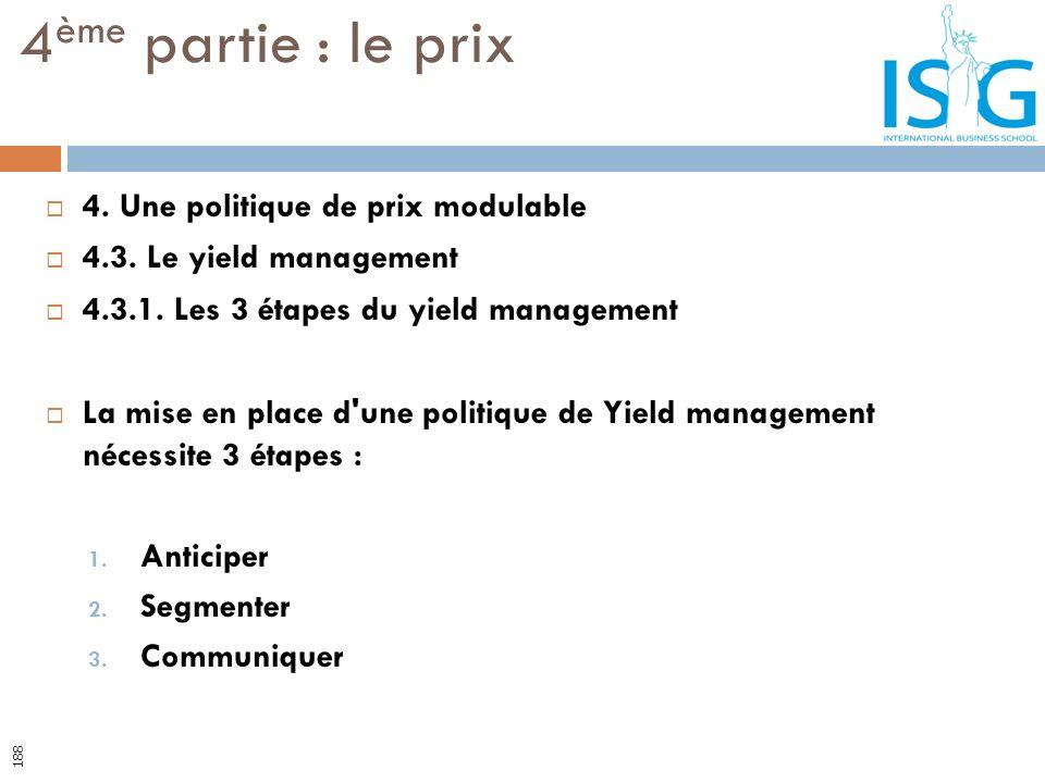 4. Une politique de prix modulable 4.3. Le yield management 4.3.1. Les 3 étapes du yield management La mise en place d'une politique de Yield manageme