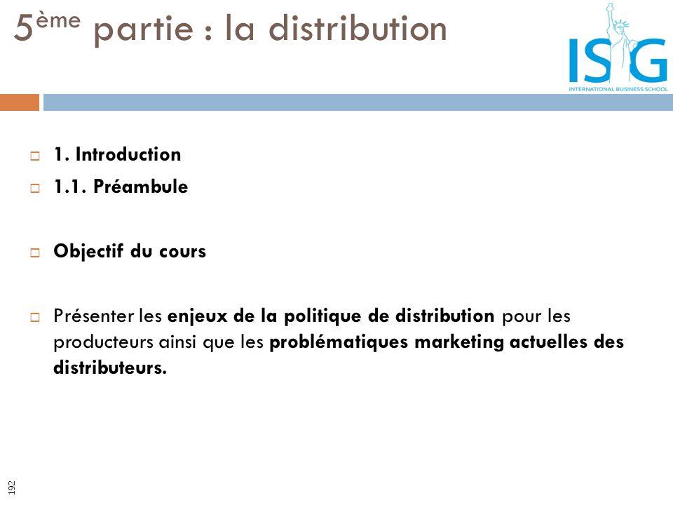 1. Introduction 1.1. Préambule Objectif du cours Présenter les enjeux de la politique de distribution pour les producteurs ainsi que les problématique