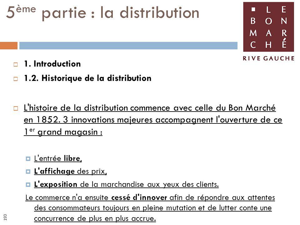 1. Introduction 1.2. Historique de la distribution L'histoire de la distribution commence avec celle du Bon Marché en 1852. 3 innovations majeures acc