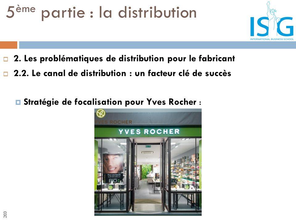 2. Les problématiques de distribution pour le fabricant 2.2. Le canal de distribution : un facteur clé de succès Stratégie de focalisation pour Yves R