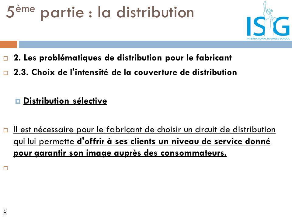 2. Les problématiques de distribution pour le fabricant 2.3. Choix de l'intensité de la couverture de distribution Distribution sélective Il est néces