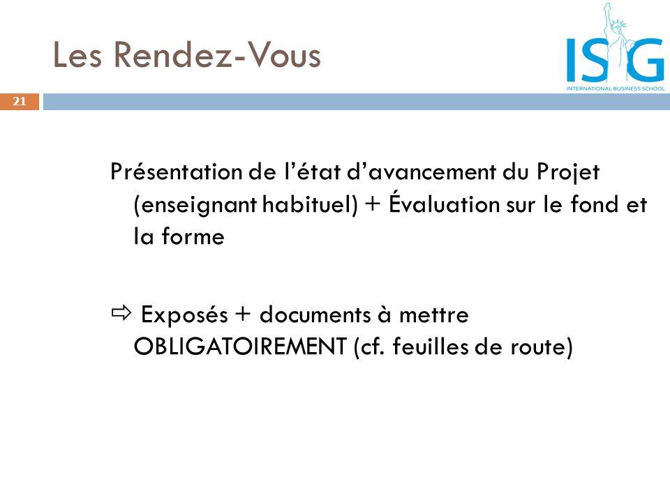 Les Rendez-Vous Présentation de létat davancement du Projet (enseignant habituel) + Évaluation sur le fond et la forme Exposés + documents à mettre OB