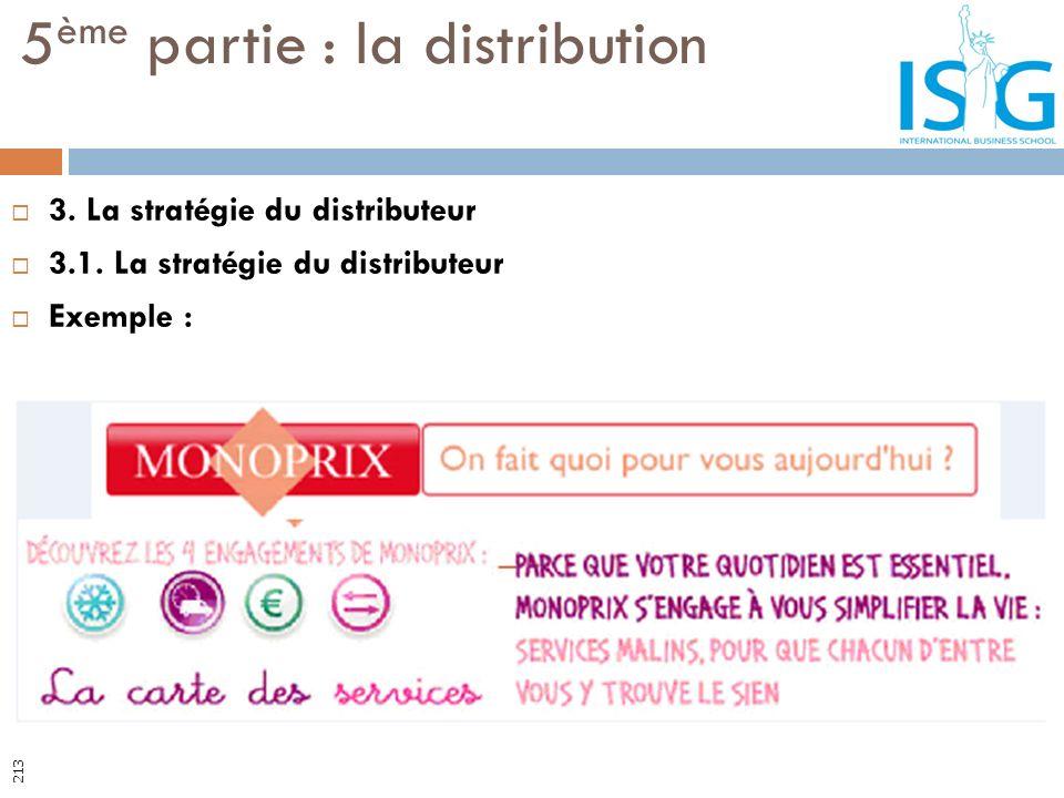 3. La stratégie du distributeur 3.1. La stratégie du distributeur Exemple : 5 ème partie : la distribution 213