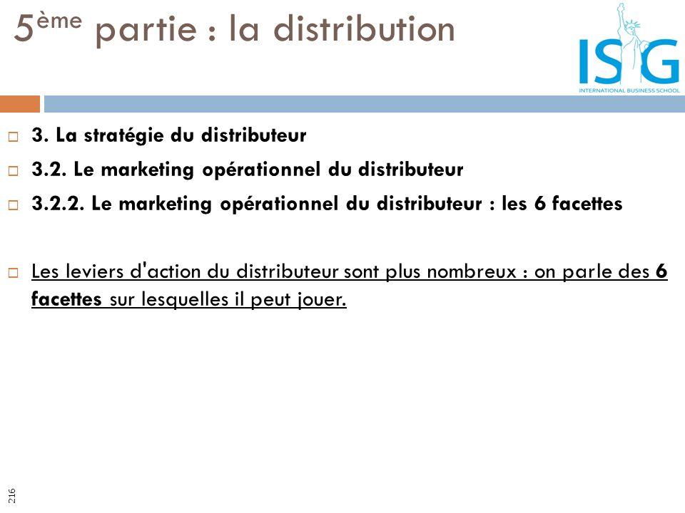3. La stratégie du distributeur 3.2. Le marketing opérationnel du distributeur 3.2.2. Le marketing opérationnel du distributeur : les 6 facettes Les l