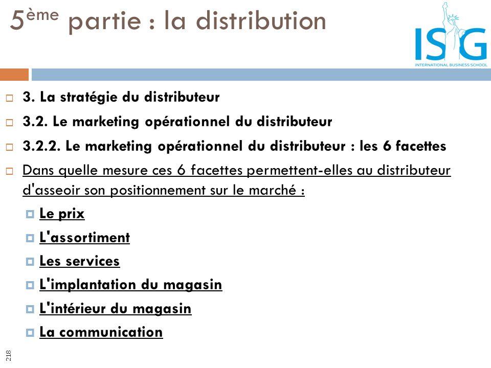3. La stratégie du distributeur 3.2. Le marketing opérationnel du distributeur 3.2.2. Le marketing opérationnel du distributeur : les 6 facettes Dans