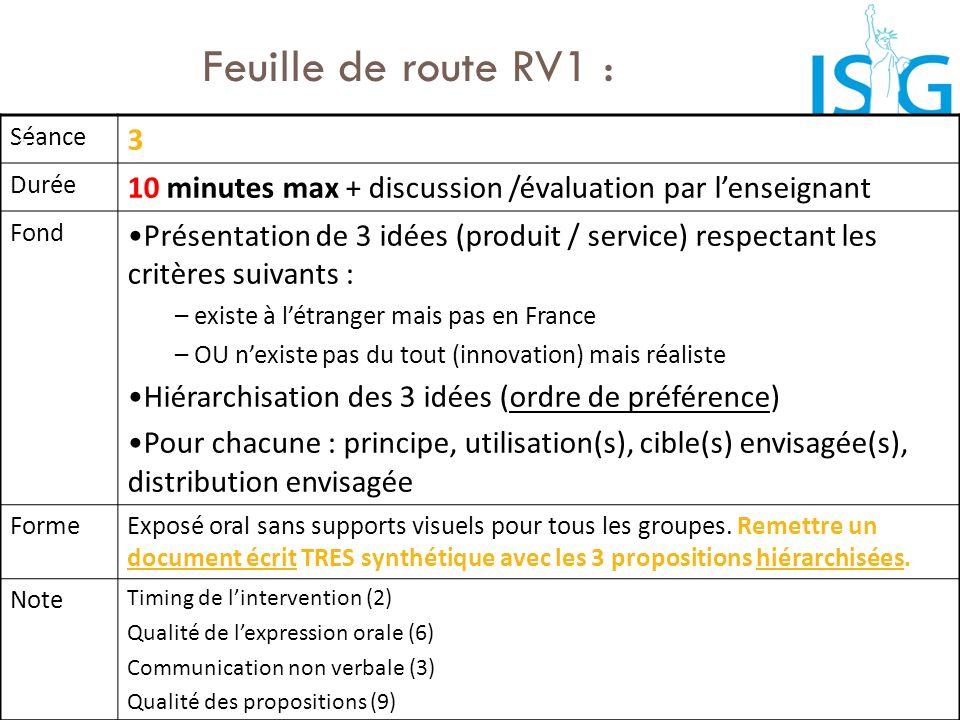 Feuille de route RV1 : Séance 3 Durée 10 minutes max + discussion /évaluation par lenseignant Fond Présentation de 3 idées (produit / service) respect
