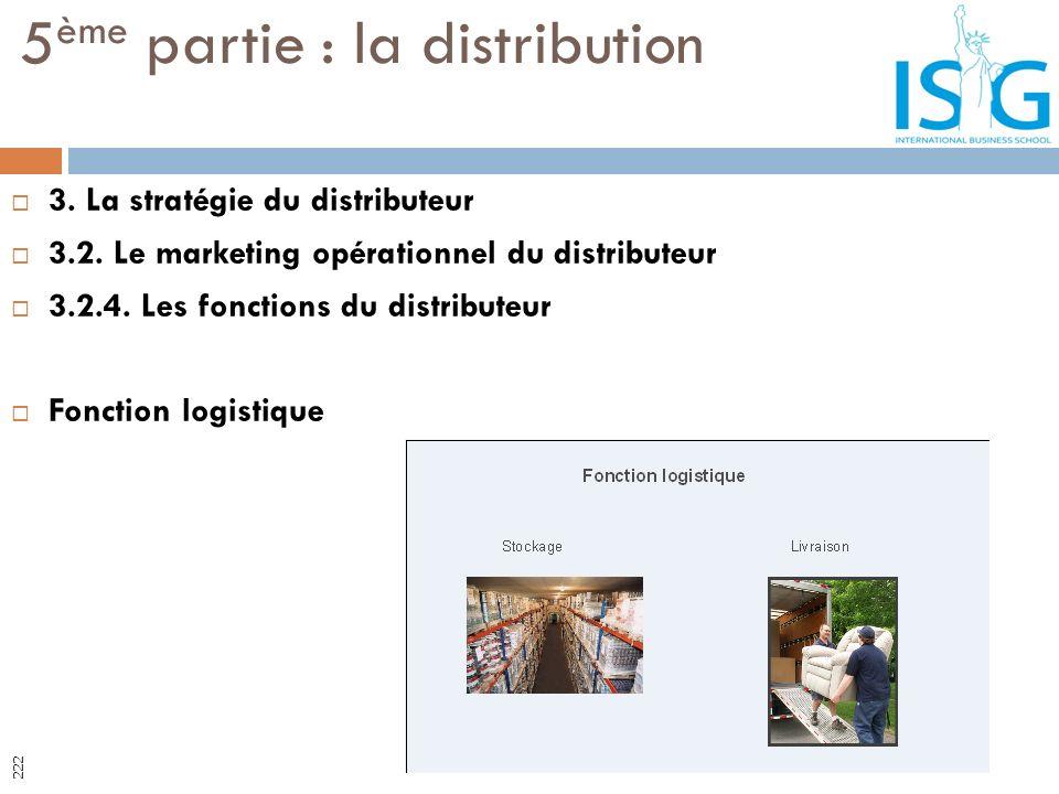3. La stratégie du distributeur 3.2. Le marketing opérationnel du distributeur 3.2.4. Les fonctions du distributeur Fonction logistique 5 ème partie :