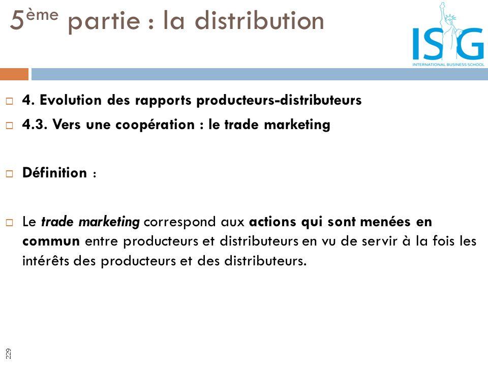 4. Evolution des rapports producteurs-distributeurs 4.3. Vers une coopération : le trade marketing Définition : Le trade marketing correspond aux acti