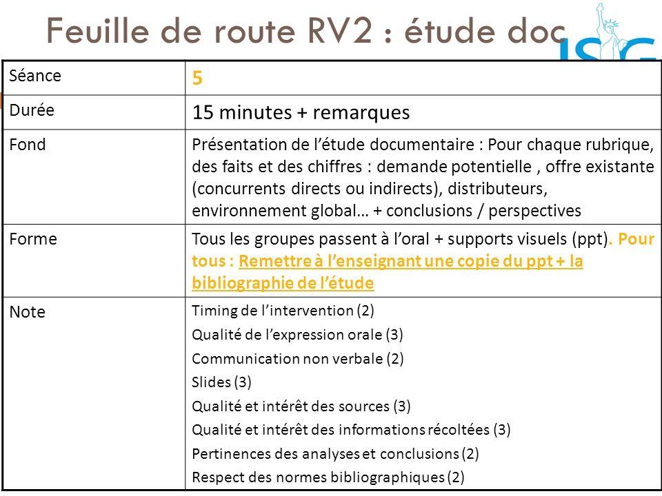 Feuille de route RV2 : étude doc Séance 5 Durée 15 minutes + remarques FondPrésentation de létude documentaire : Pour chaque rubrique, des faits et de