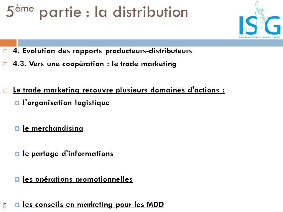 4. Evolution des rapports producteurs-distributeurs 4.3. Vers une coopération : le trade marketing Le trade marketing recouvre plusieurs domaines d'ac
