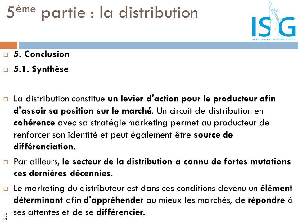 5 ème partie : la distribution 231 5. Conclusion 5.1. Synthèse La distribution constitue un levier d'action pour le producteur afin d'assoir sa positi