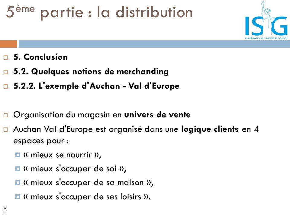 5. Conclusion 5.2. Quelques notions de merchanding 5.2.2. L'exemple d'Auchan - Val d'Europe Organisation du magasin en univers de vente Auchan Val d'E