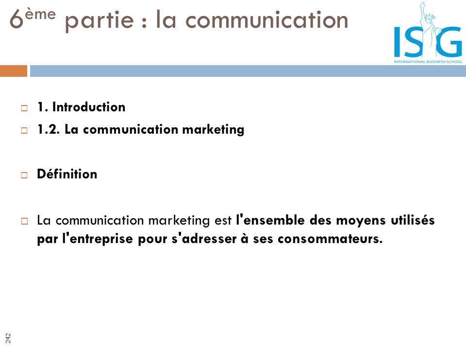 1. Introduction 1.2. La communication marketing Définition La communication marketing est l'ensemble des moyens utilisés par l'entreprise pour s'adres