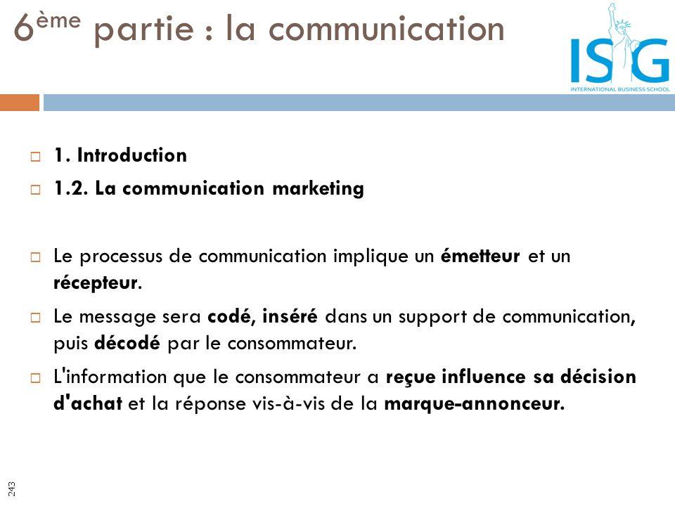 1. Introduction 1.2. La communication marketing Le processus de communication implique un émetteur et un récepteur. Le message sera codé, inséré dans
