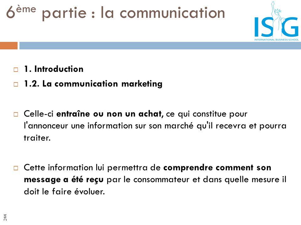 1. Introduction 1.2. La communication marketing Celle-ci entraîne ou non un achat, ce qui constitue pour l'annonceur une information sur son marché qu