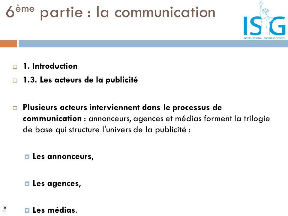 1. Introduction 1.3. Les acteurs de la publicité Plusieurs acteurs interviennent dans le processus de communication : annonceurs, agences et médias fo