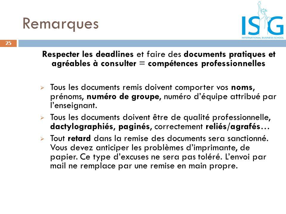 Remarques Respecter les deadlines et faire des documents pratiques et agréables à consulter = compétences professionnelles Tous les documents remis do