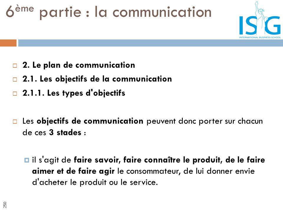 6 ème partie : la communication 250 2. Le plan de communication 2.1. Les objectifs de la communication 2.1.1. Les types d'objectifs Les objectifs de c