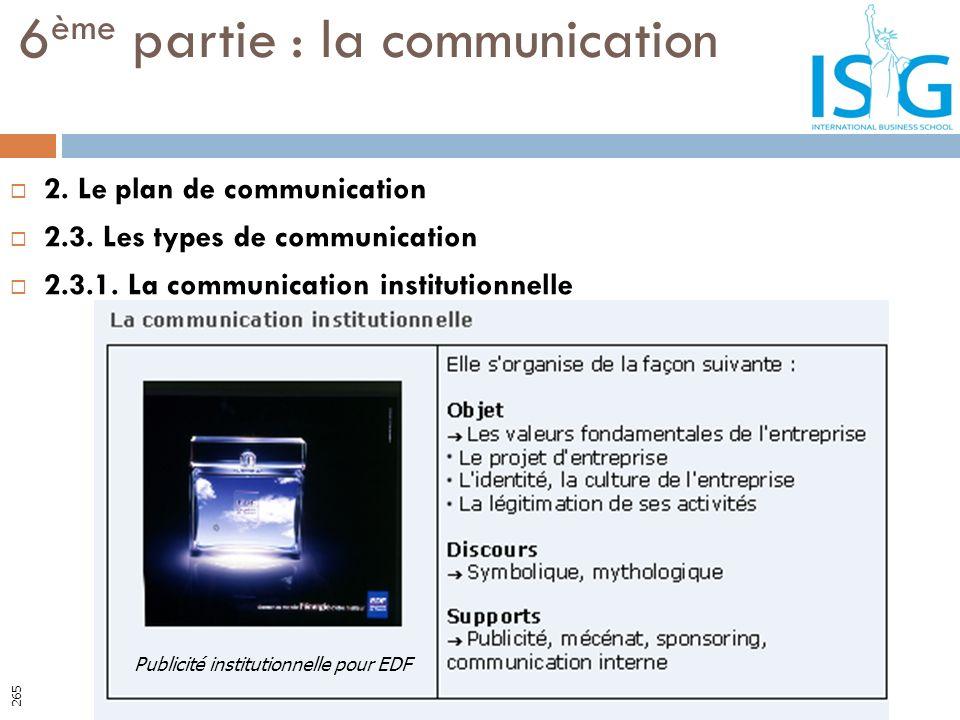 2. Le plan de communication 2.3. Les types de communication 2.3.1. La communication institutionnelle 6 ème partie : la communication Publicité institu