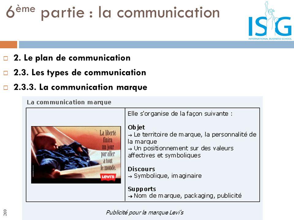 2. Le plan de communication 2.3. Les types de communication 2.3.3. La communication marque 6 ème partie : la communication Publicité pour la marque Le