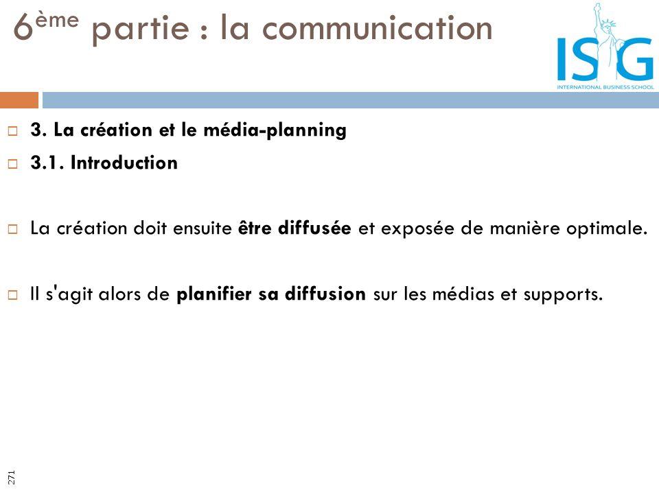 3. La création et le média-planning 3.1. Introduction La création doit ensuite être diffusée et exposée de manière optimale. Il s'agit alors de planif