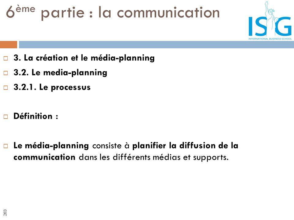 3. La création et le média-planning 3.2. Le media-planning 3.2.1. Le processus Définition : Le média-planning consiste à planifier la diffusion de la