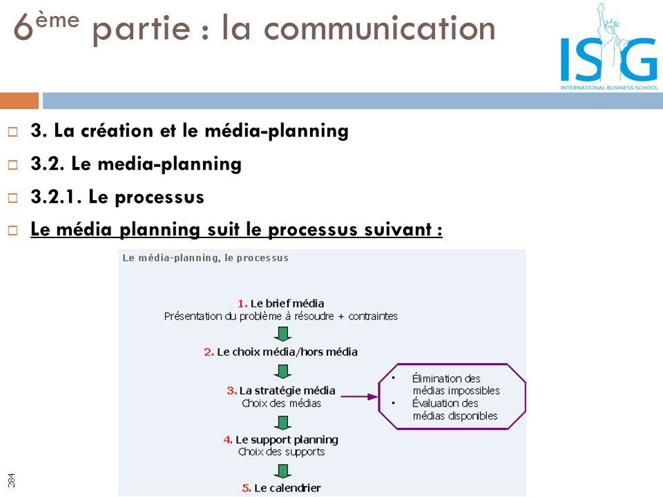 3. La création et le média-planning 3.2. Le media-planning 3.2.1. Le processus Le média planning suit le processus suivant : 6 ème partie : la communi
