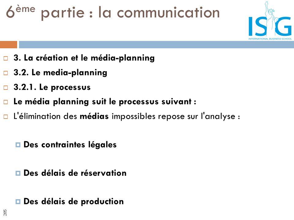 3. La création et le média-planning 3.2. Le media-planning 3.2.1. Le processus Le média planning suit le processus suivant : L'élimination des médias