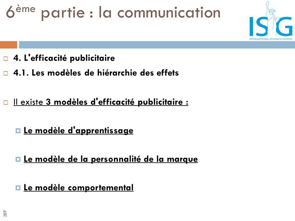 4. L'efficacité publicitaire 4.1. Les modèles de hiérarchie des effets Il existe 3 modèles d'efficacité publicitaire : Le modèle d'apprentissage Le mo