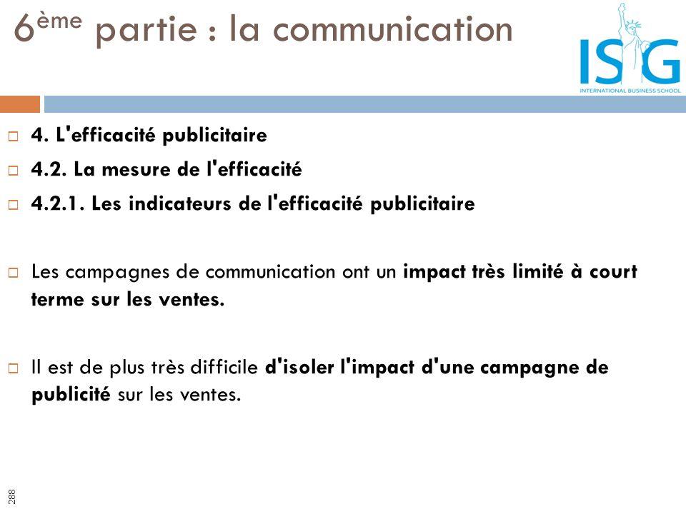 4. L'efficacité publicitaire 4.2. La mesure de l'efficacité 4.2.1. Les indicateurs de l'efficacité publicitaire Les campagnes de communication ont un
