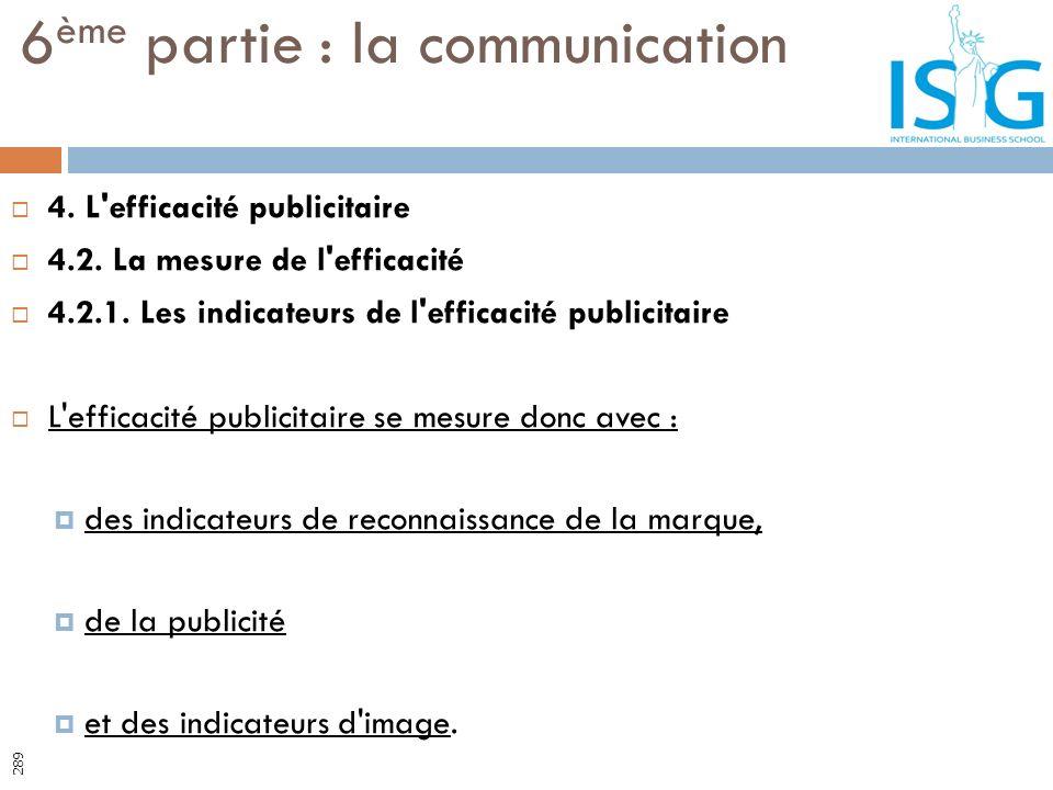 4. L'efficacité publicitaire 4.2. La mesure de l'efficacité 4.2.1. Les indicateurs de l'efficacité publicitaire L'efficacité publicitaire se mesure do