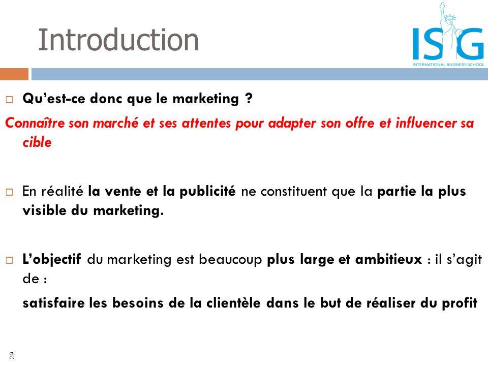 Introduction Quest-ce donc que le marketing ? Connaître son marché et ses attentes pour adapter son offre et influencer sa cible En réalité la vente e
