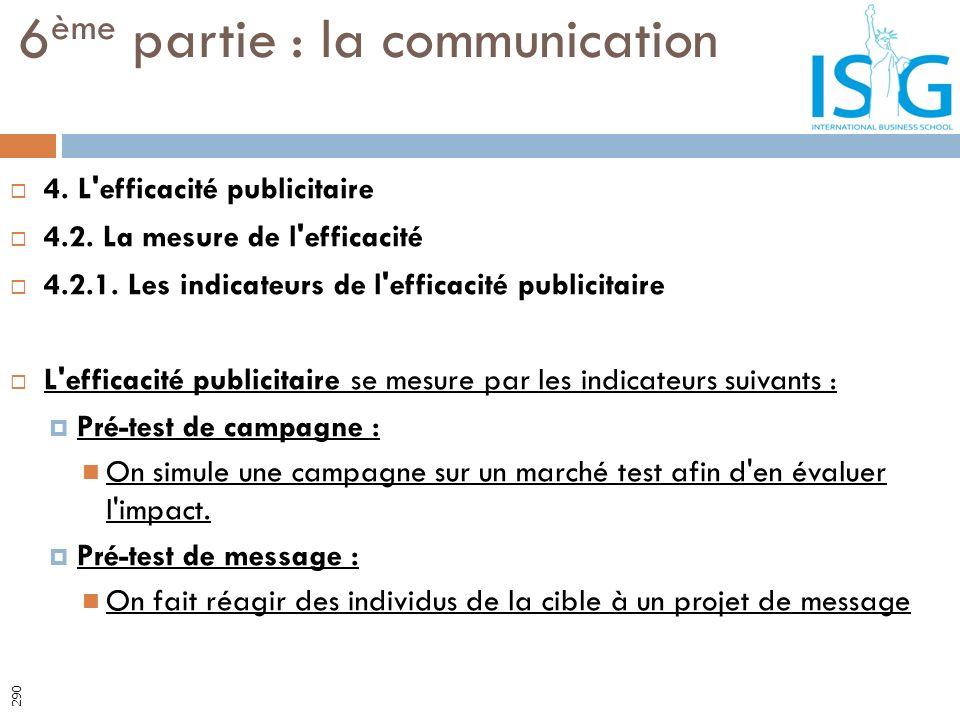 4. L'efficacité publicitaire 4.2. La mesure de l'efficacité 4.2.1. Les indicateurs de l'efficacité publicitaire L'efficacité publicitaire se mesure pa