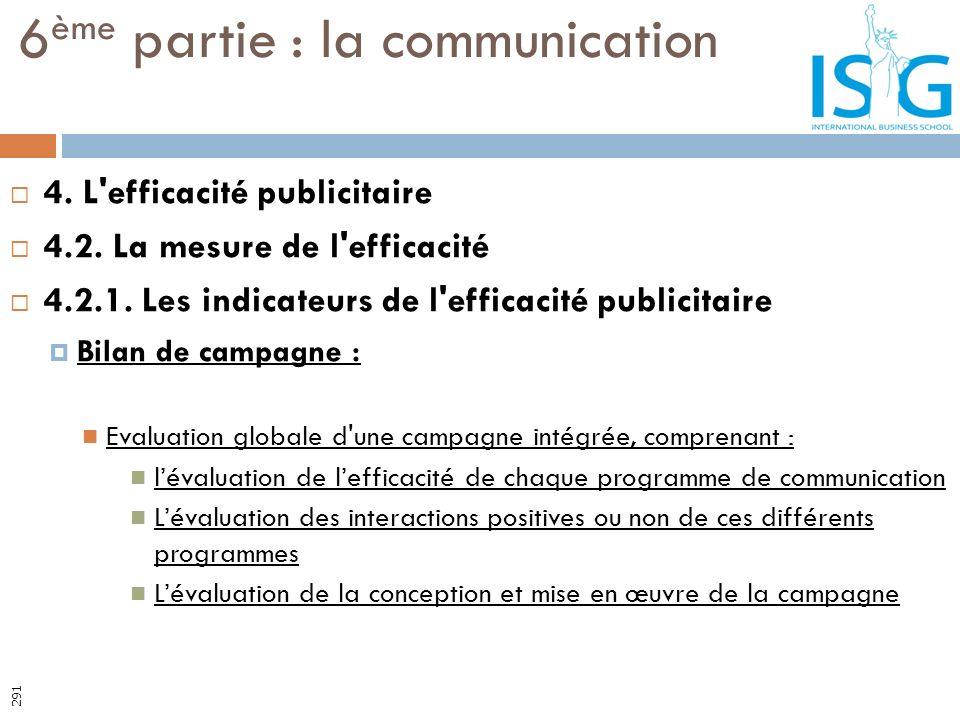 4. L'efficacité publicitaire 4.2. La mesure de l'efficacité 4.2.1. Les indicateurs de l'efficacité publicitaire Bilan de campagne : Evaluation globale