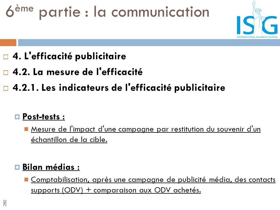 4. L'efficacité publicitaire 4.2. La mesure de l'efficacité 4.2.1. Les indicateurs de l'efficacité publicitaire Post-tests : Mesure de l'impact d'une
