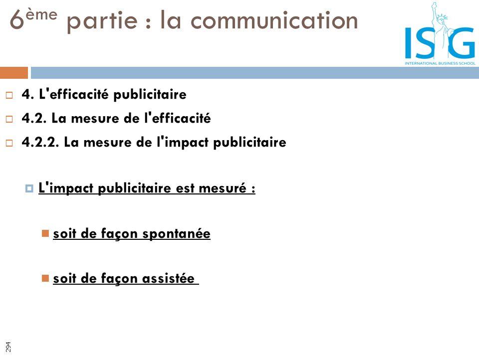 4. L'efficacité publicitaire 4.2. La mesure de l'efficacité 4.2.2. La mesure de l'impact publicitaire L'impact publicitaire est mesuré : soit de façon
