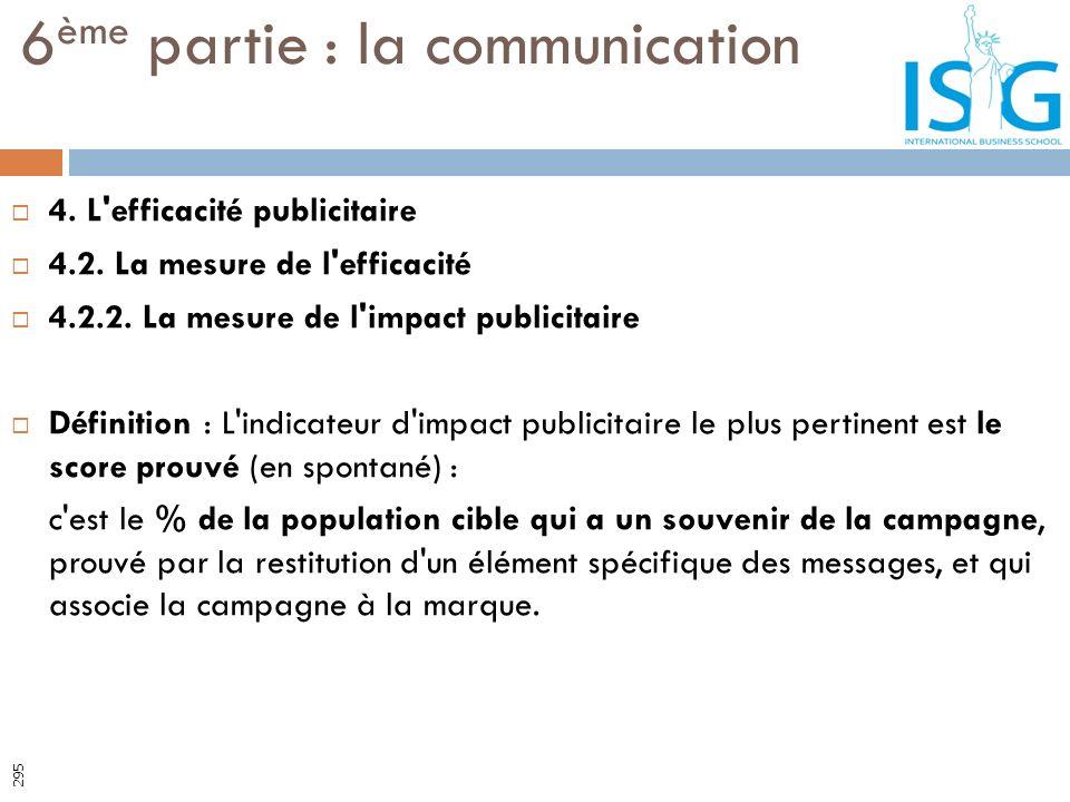 4. L'efficacité publicitaire 4.2. La mesure de l'efficacité 4.2.2. La mesure de l'impact publicitaire Définition : L'indicateur d'impact publicitaire