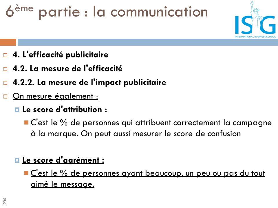 4. L'efficacité publicitaire 4.2. La mesure de l'efficacité 4.2.2. La mesure de l'impact publicitaire On mesure également : Le score d'attribution : C