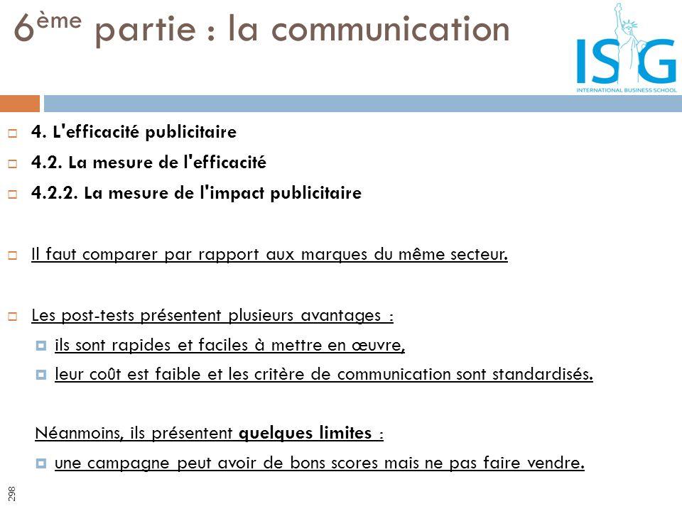 4. L'efficacité publicitaire 4.2. La mesure de l'efficacité 4.2.2. La mesure de l'impact publicitaire Il faut comparer par rapport aux marques du même