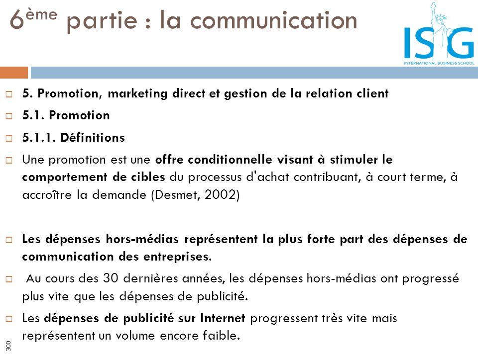5. Promotion, marketing direct et gestion de la relation client 5.1. Promotion 5.1.1. Définitions Une promotion est une offre conditionnelle visant à