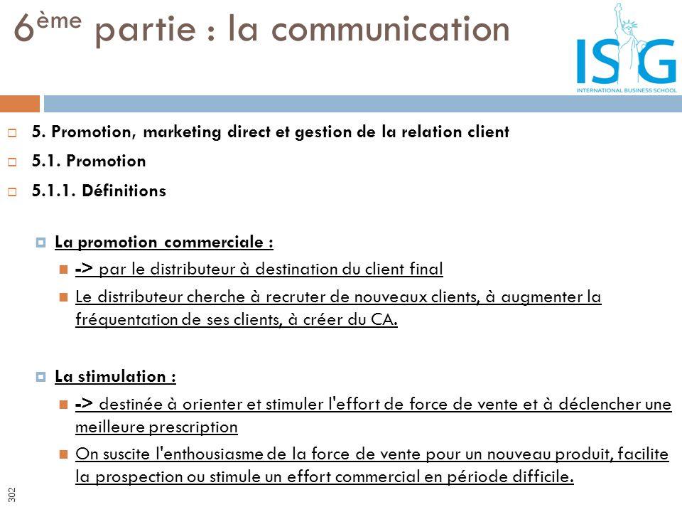 5. Promotion, marketing direct et gestion de la relation client 5.1. Promotion 5.1.1. Définitions La promotion commerciale : -> par le distributeur à